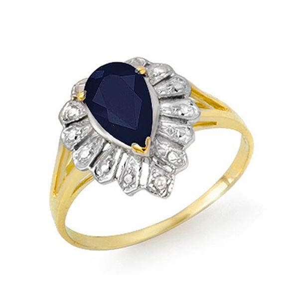 1.12 ctw Blue Sapphire & Diamond Ring 10k Yellow Gold - REF-9H4R