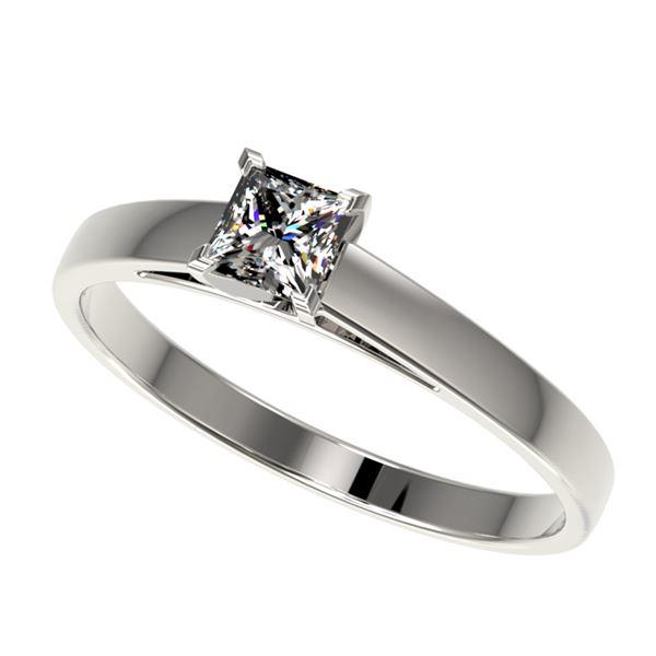 0.50 ctw Certified VS/SI Quality Princess Diamond Ring 10k White Gold - REF-60F3M
