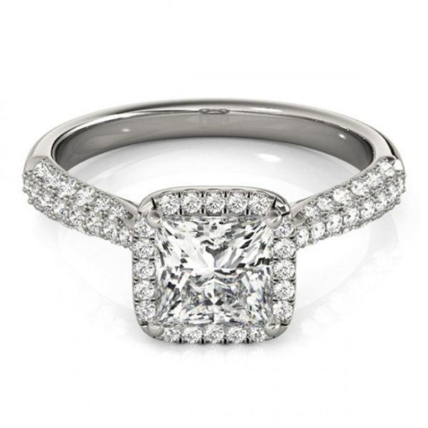 1.15 ctw Certified VS/SI Princess Diamond Halo Ring 18k White Gold - REF-122M8G