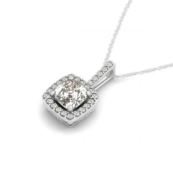 1 ctw Cushion Cut Certified VS/SI Diamond Halo Necklace 14k White Gold - REF-180K2Y