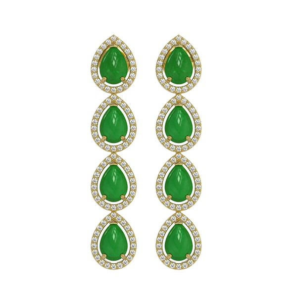 6.20 ctw Jade & Diamond Micro Pave Halo Earrings 10k Yellow Gold - REF-158A2N