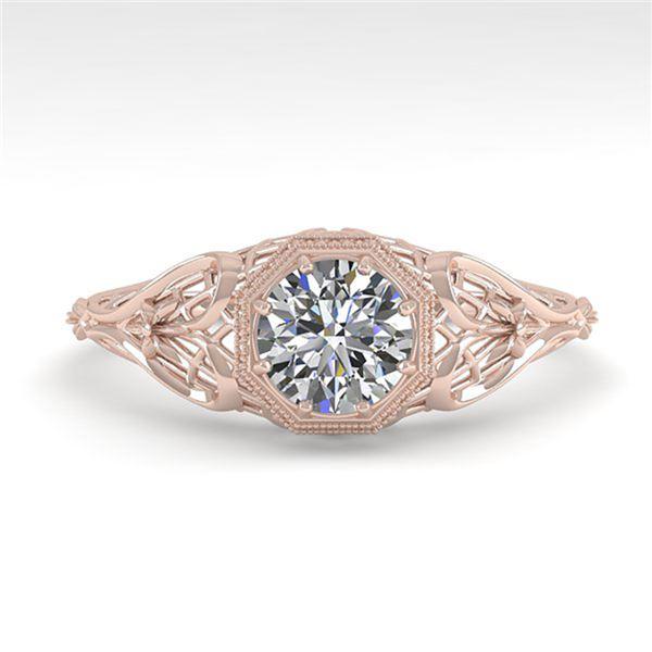 0.50 ctw VS/SI Diamond Engagment Ring Art Deco 18k Rose Gold - REF-107F3M