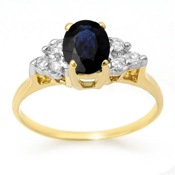 1.41 ctw Blue Sapphire & Diamond Ring 14k Yellow Gold - REF-19G8W
