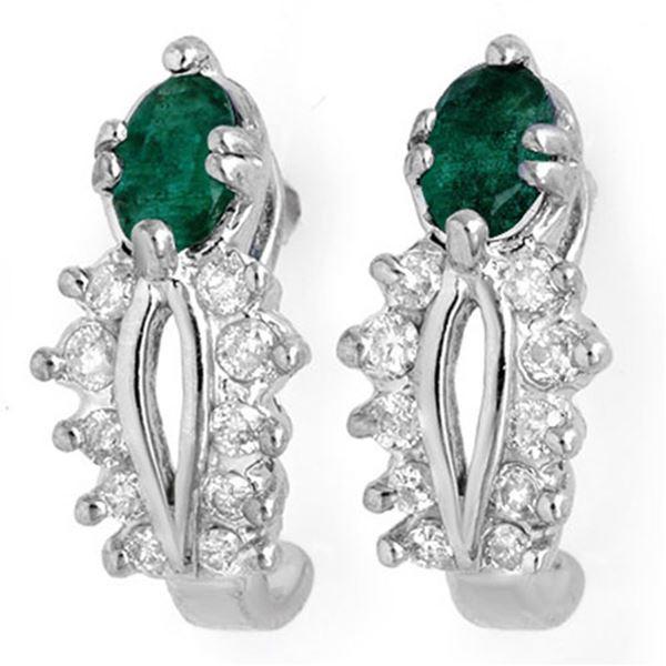 0.85 ctw Emerald & Diamond Earrings 10k White Gold - REF-23G5W