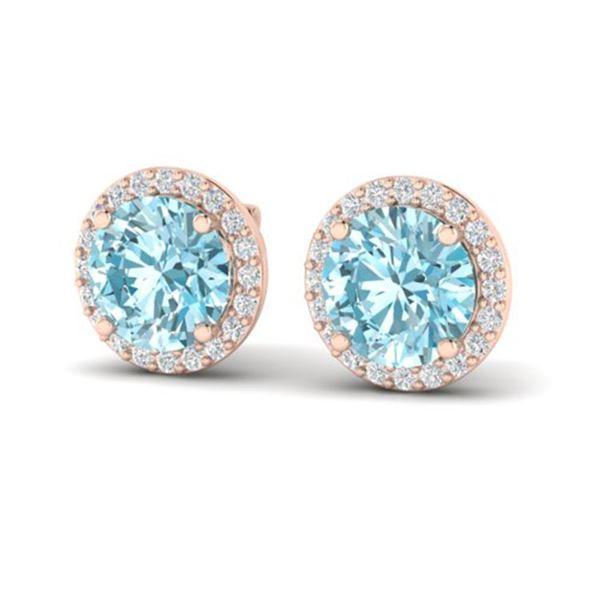 4 ctw Sky Blue Topaz & Halo VS/SI Diamond Micro Earrings 14k Rose Gold - REF-41H3R