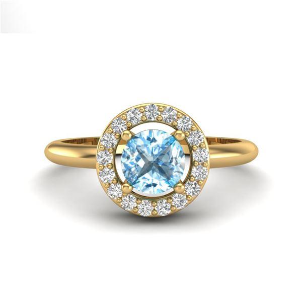 0.75 ctw Sky Blue Topaz & Micro Pave VS/SI Diamond Ring 18k Yellow Gold - REF-33G3W