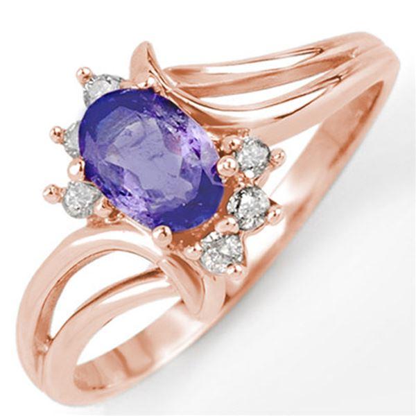 0.70 ctw Tanzanite & Diamond Ring 14k Rose Gold - REF-18X3A