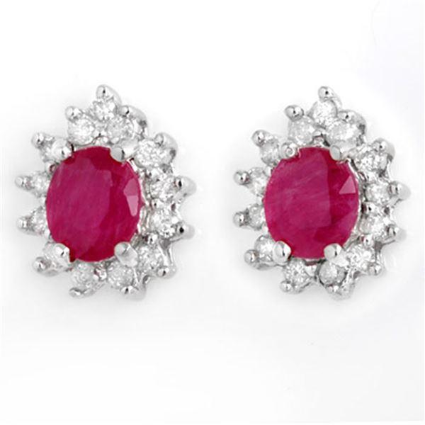 4.44 ctw Ruby & Diamond Earrings 14k White Gold - REF-89Y3X