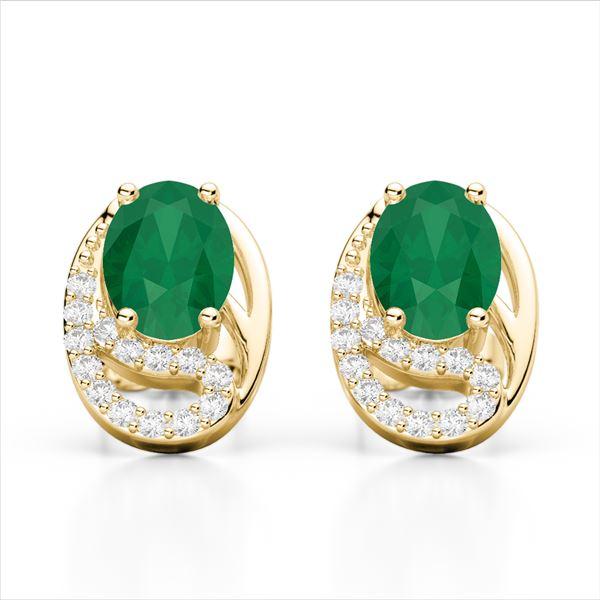2.50 Emerald & Micro Pave VS/SI Diamond Stud Earrings 10k Yellow Gold - REF-25A9N