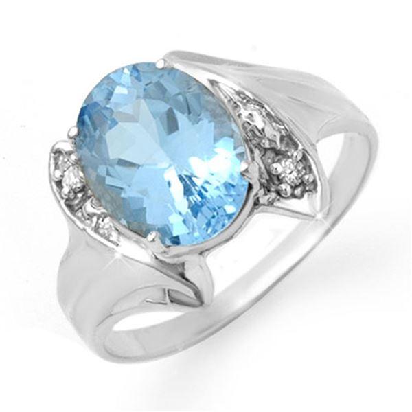 2.51 ctw Blue Topaz & Diamond Ring 10k White Gold - REF-13Y3X