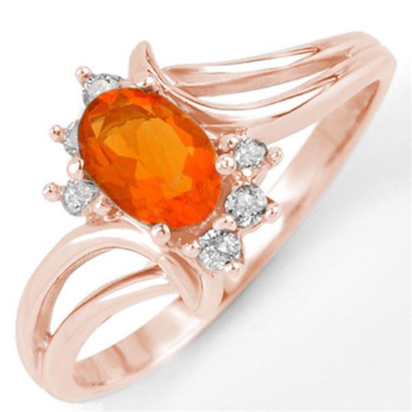 0.50 ctw Opal & Diamond Ring 14k Rose Gold - REF-19A9N
