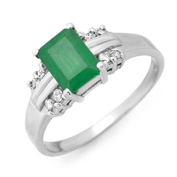 1.16 ctw Emerald & Diamond Ring 18k White Gold - REF-32X2A