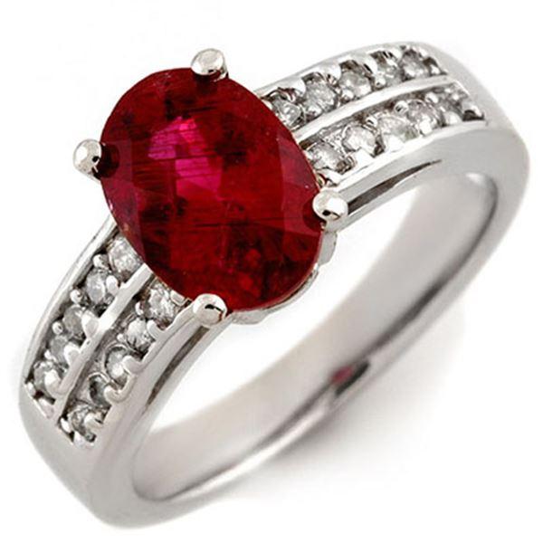 2.50 ctw Rubellite & Diamond Ring 14k White Gold - REF-74X2A