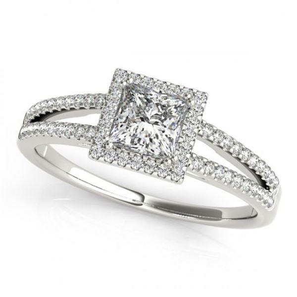 0.85 ctw Certified VS/SI Princess Diamond Halo Ring 18k White Gold - REF-104H9R