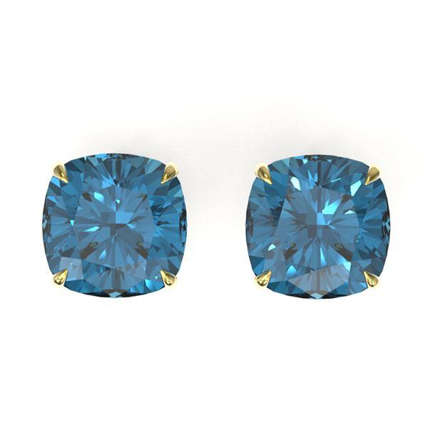 12 ctw Cushion London Blue Topaz Designer Stud Earrings 18k Yellow Gold - REF-36W6H