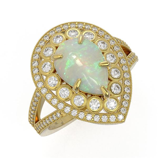 4.19 ctw Certified Opal & Diamond Victorian Ring 14K Yellow Gold - REF-148N2F