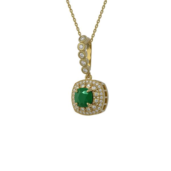 2.55 ctw Certified Emerald & Diamond Victorian Necklace 14K Yellow Gold - REF-100H2R