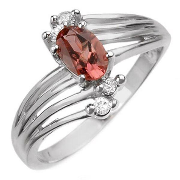 0.65 ctw Pink Tourmaline & Diamond Ring 10k White Gold - REF-17N2F