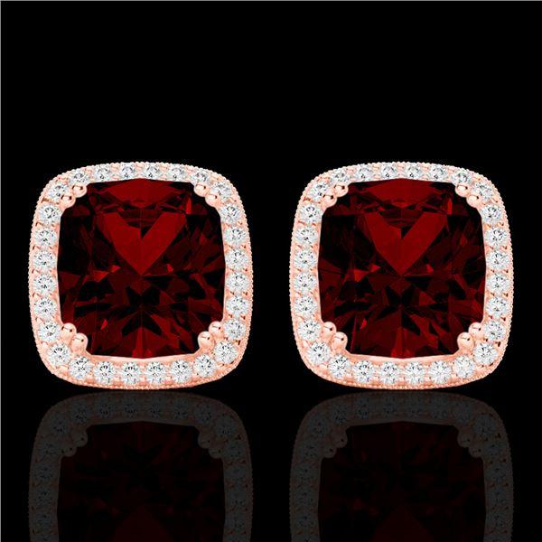 6 ctw Garnet & Micro Pave VS/SI Diamond Halo Earrings 14k Rose Gold - REF-50G8W