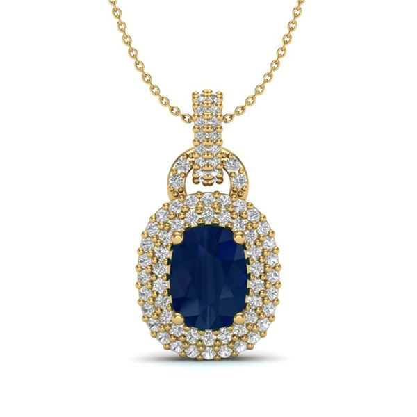 2.50 ctw Sapphire & Micro Pave VS/SI Diamond Necklace 14k Yellow Gold - REF-52K8Y