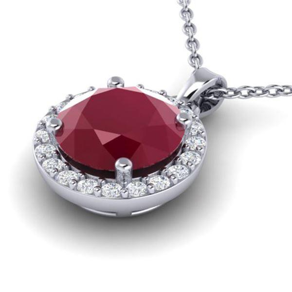 2 ctw Ruby & Halo VS/SI Diamond Micro Pave Necklace 18k White Gold - REF-34X4A