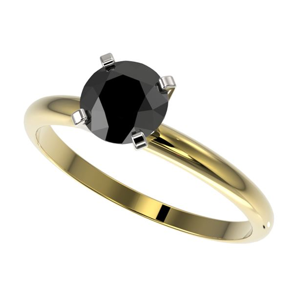 1 ctw Fancy Black Diamond Solitaire Engagment Ring 10k Yellow Gold - REF-22N3F