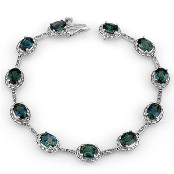 15.40 ctw Blue Sapphire & Diamond Bracelet 10k White Gold - REF-125X5A