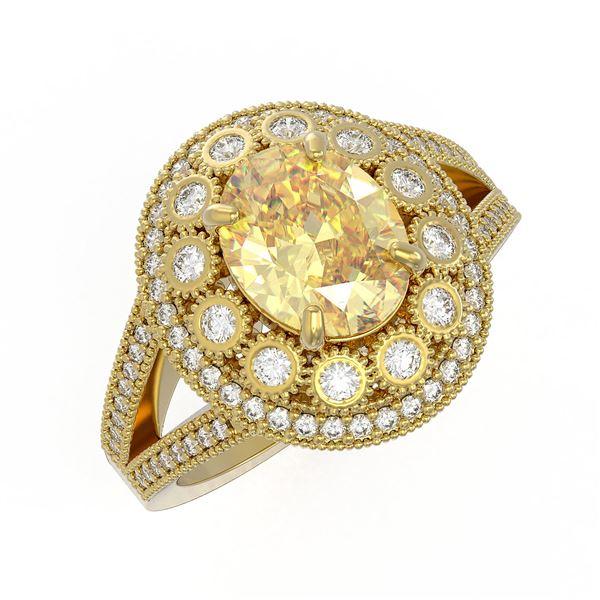 3.75 ctw Canary Citrine & Diamond Victorian Ring 14K Yellow Gold - REF-129X3A