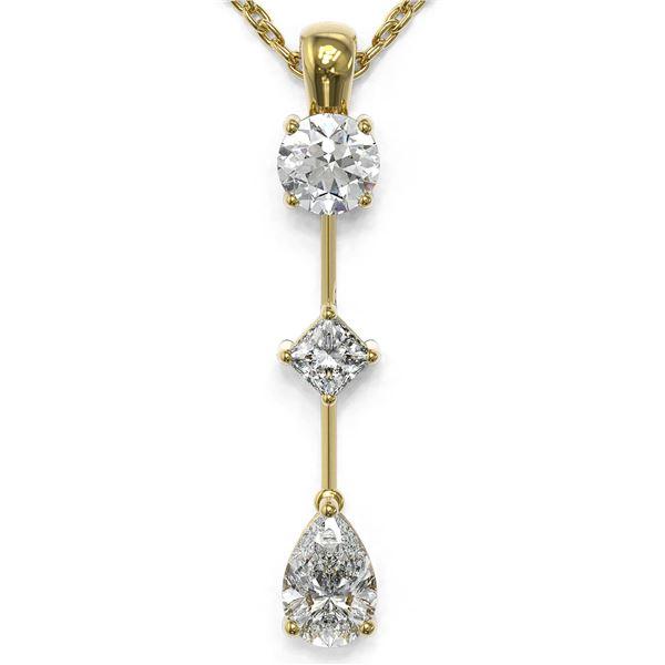 0.9 ctw Pear Cut Diamond Designer Necklace 18K Yellow Gold - REF-121F2M