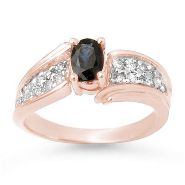 1.40 ctw Blue Sapphire & Diamond Ring 14k Rose Gold - REF-44M2G