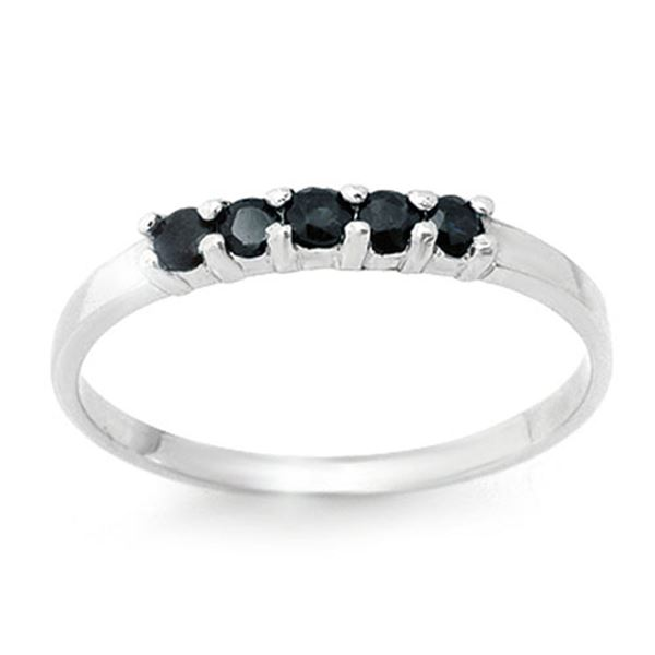 0.25 ctw Blue Sapphire Ring 18k White Gold - REF-13H2R