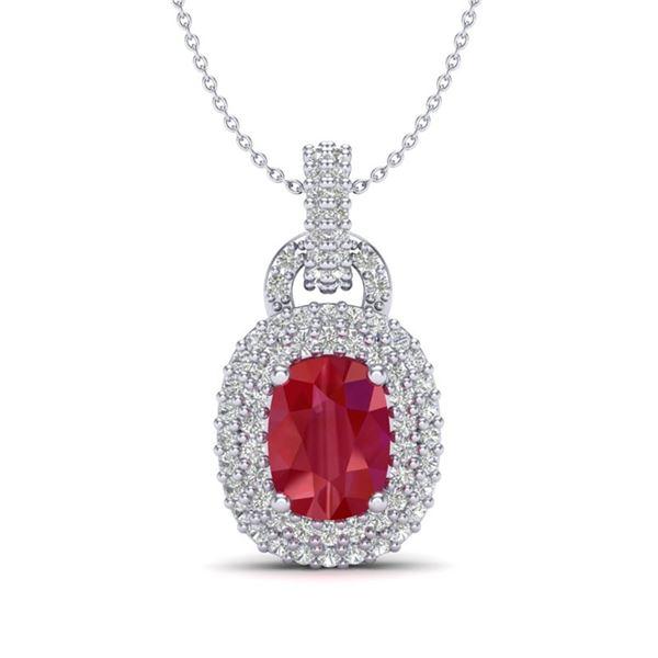 2.50 ctw Ruby & Micro Pave VS/SI Diamond Necklace 14k White Gold - REF-52F8M