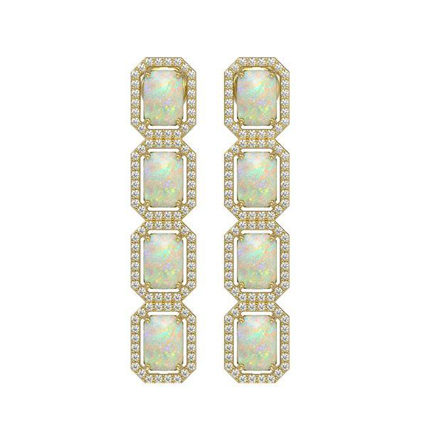 7.93 ctw Opal & Diamond Micro Pave Halo Earrings 10k Yellow Gold - REF-162G2W