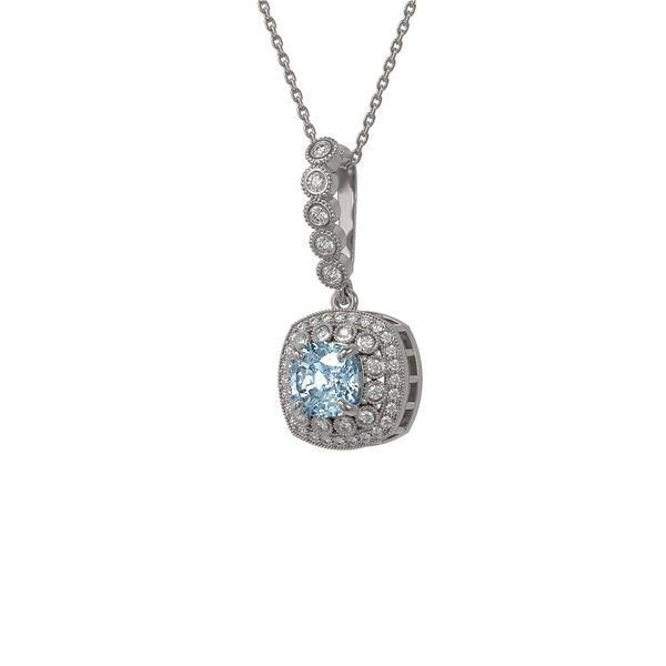 2.25 ctw Aquamarine & Diamond Victorian Necklace 14K White Gold - REF-81G3W