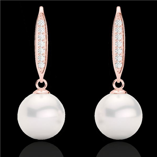 0.18 ctw Micro VS/SI Diamond & Pearl Designer Earrings 14k Rose Gold - REF-23F2M