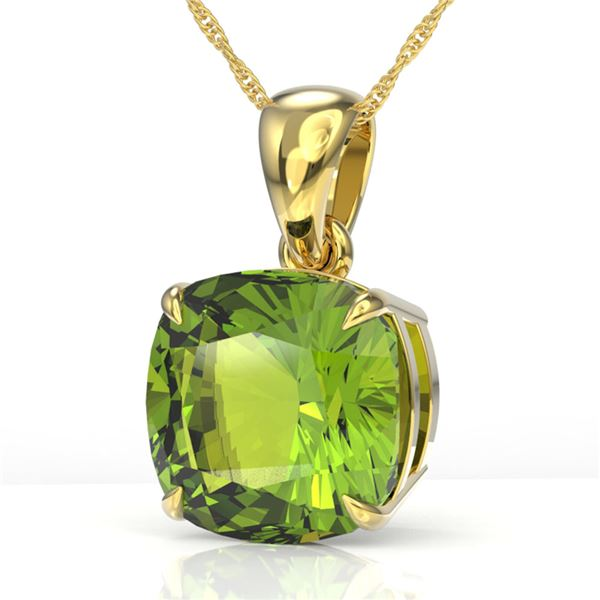 6 ctw Cushion Cut Peridot Designer Necklace 18k Yellow Gold - REF-49M6G