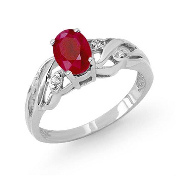 1.02 ctw Ruby & Diamond Ring 10k White Gold - REF-15H2R