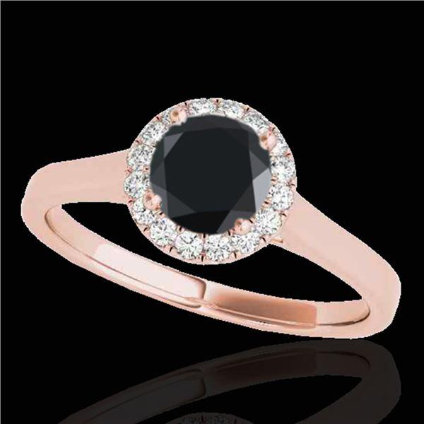1.11 ctw Certified VS Black Diamond Solitaire Halo Ring 10k Rose Gold - REF-39H5R