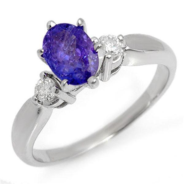 1.25 ctw Tanzanite & Diamond Ring 14k White Gold - REF-39A5N