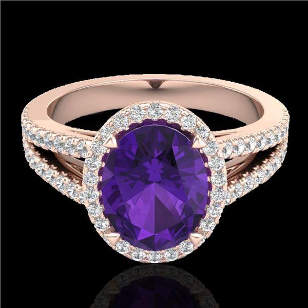 3 ctw Amethyst & Micro VS/SI Diamond Halo Ring 14k Rose Gold - REF-49F3M