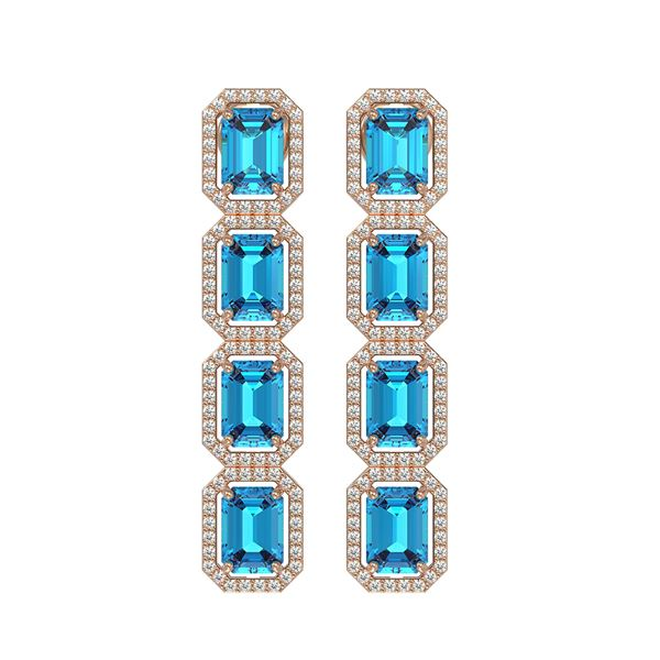 11.13 ctw Swiss Topaz & Diamond Micro Pave Halo Earrings 10k Rose Gold - REF-172K8Y