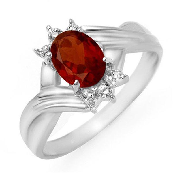 1.04 ctw Garnet & Diamond Ring 10k White Gold - REF-12M3G