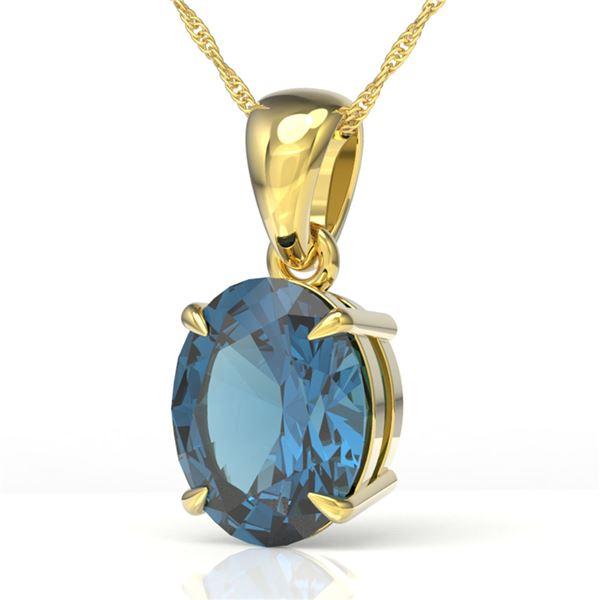 3.50 ctw London Blue Topaz Designer Solitaire Necklace 18k Yellow Gold - REF-24X5A