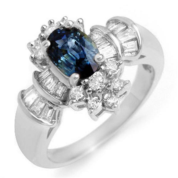 2.25 ctw Blue Sapphire & Diamond Ring 18k White Gold - REF-87Y3X