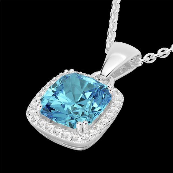 3.50 ctw Sky Blue Topaz & Micro VS/SI Diamond Necklace 18k White Gold - REF-40M2G
