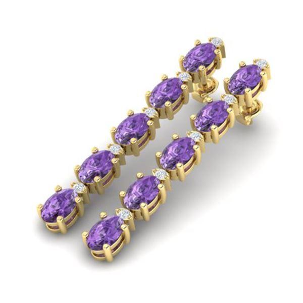 6 ctw Amethyst & VS/SI Diamond Certified Tennis Earrings 10k Yellow Gold - REF-29G3W