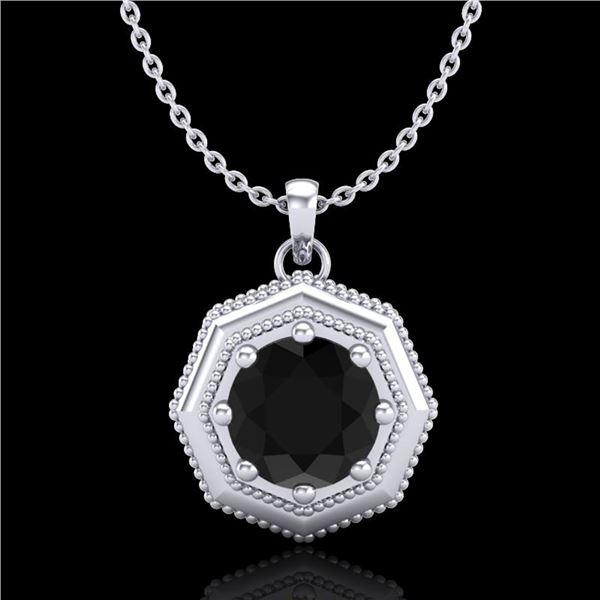0.75 ctw Fancy Black Diamond Art Deco Stud Necklace 18k White Gold - REF-40A9N