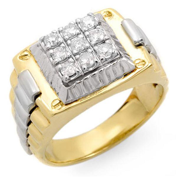 0.50 ctw Certified VS/SI Diamond Men's Ring 10K 2-Tone 10k 2-Tone Gold - REF-84N5F