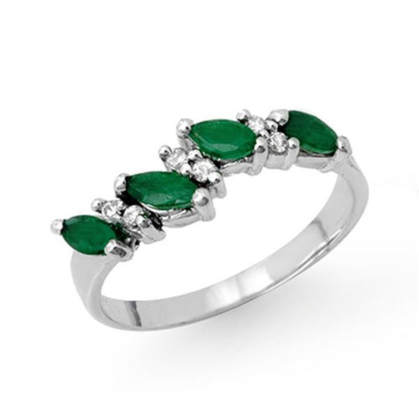 0.61 ctw Emerald & Diamond Ring 10k White Gold - REF-16H6R