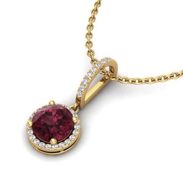 2.75 ctw Garnet & Micro Pave VS/SI Diamond Necklace 18k Yellow Gold - REF-45X3A
